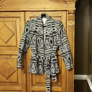 H&M Black and White Southwestern Print Blazer